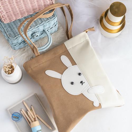 Foto Produk UCHII USAGI Tote Bag Character Bunny Leather Velvet Zipper | Tas Bahu - Cokelat dari uchii store