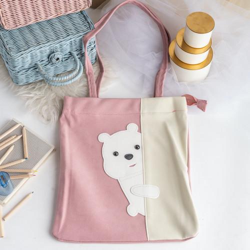 Foto Produk UCHII KUMA Tote Bag Character Bear PU Velvet   Tas Selempang Beludru - Merah Muda dari uchii store