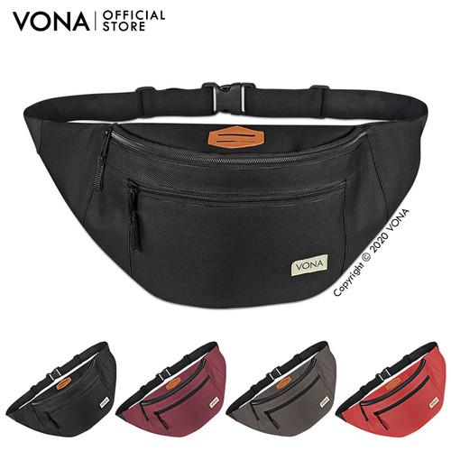 Foto Produk VONA Abrams Sling Bag Tas Selempang Pria Waterproof Waistbag Distro - Hitam dari VONA