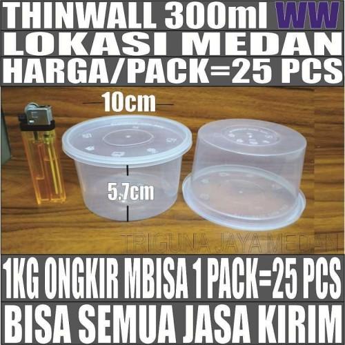 Foto Produk Thinwall 300ml 25pcs Mangkok Plastik Mangkuk Bulat Rata 300 ml Medan dari triguna jaya medan
