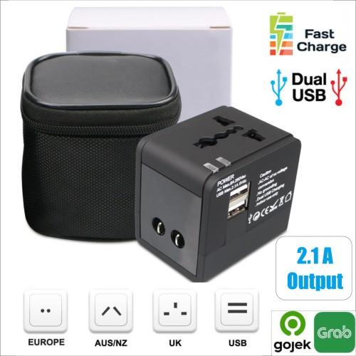 Foto Produk Universal Travel Adaptor 2.1A Fast charging Colokan adapter Dual USB dari toko25jam