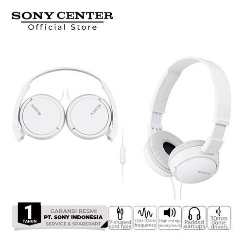 Foto Produk Sony MDR-ZX110AP Extra Bass Smartphone Headset Black - Putih dari Sony Center Official