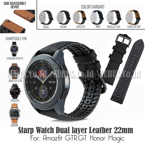Foto Produk Starp Watch Dual layer Leather Rubber 22mm Amazfit GTR,GT Honor Magic - Black dari Cubus_Co_ID
