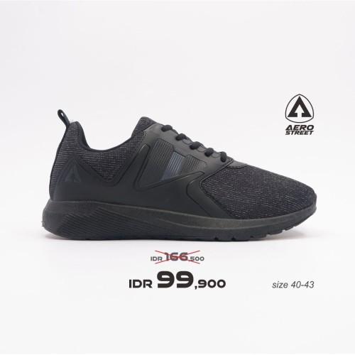 Foto Produk Aerostreet 40-43 Enzo Full Black - Sepatu Sneakers Pria Wanita - 40 dari Aerostreet