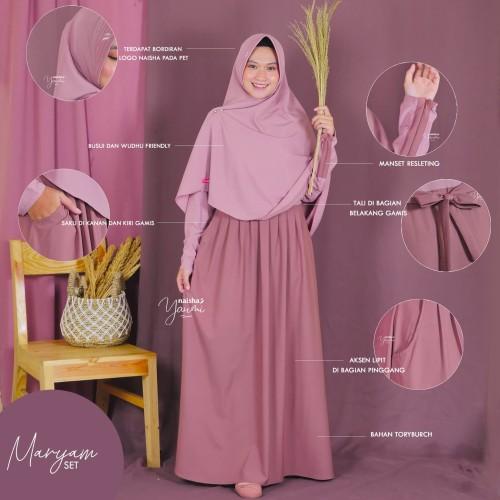Foto Produk [GAMIS+KHIMAR] MARYAM SET SERIES by NAISHA - Soft Pink dari Anira Hijab Store