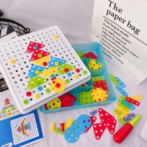 Foto Produk MB93 Mainan Puzzle Bor Obeng Sekrup 180pcs / Tukang Bor Anak Blocks dari Mmtoys Indonesia