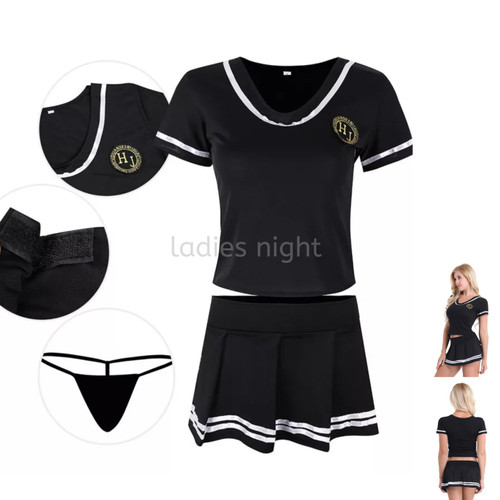 Foto Produk Cerries Costume Lingerie Kostum Bola Cosplay - Top ,Skirt and Gstring - Hitam dari Ladies Night