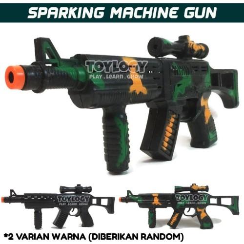 Foto Produk Mainan Anak Laki Army Machine Gun Senapan Mesin Militer Sparking Power dari Toylogy