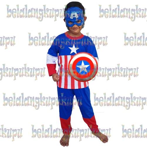 Foto Produk Baju Anak Kostum Topeng Superhero Captain America - Kertas Kado dari BelalangKupuKupu