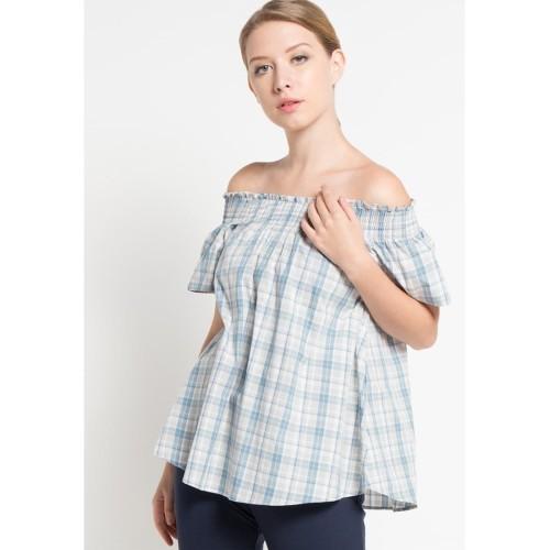 Foto Produk Blouse Wanita EDITION EB24BLUE Plaid Off Shoulder - XS dari Edition Official Store