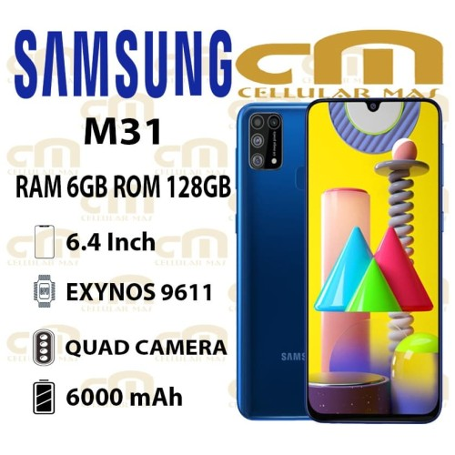 Foto Produk Samsung Galaxy M31 6/128 RAM 6GB ROM128GB GARANSI RESMI SEIN - Hitam dari Cellular Mas