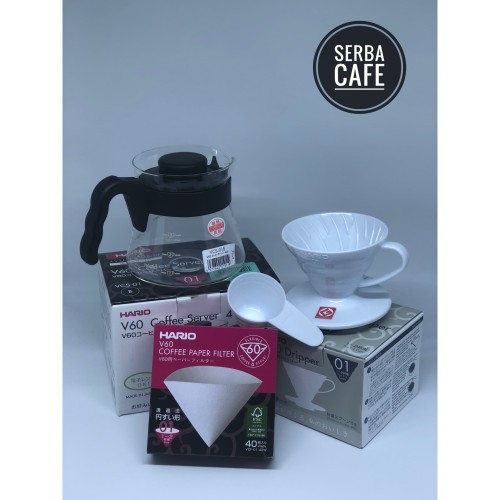 Foto Produk Paket Hario Manual Brew Super Hemat (V60+Server+Paper Filter) - Clear, 01 dari Serba Cafe