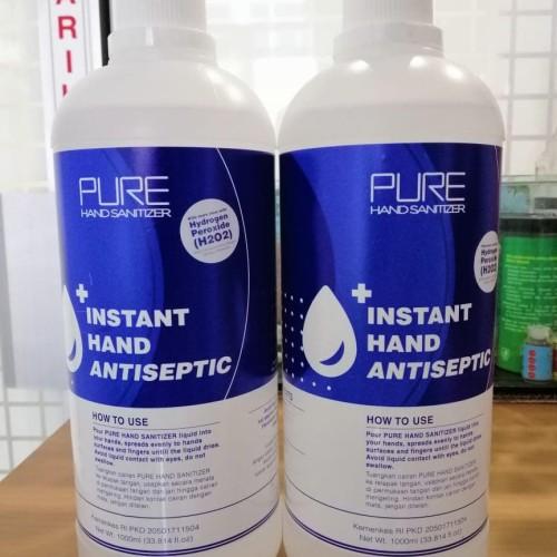 Foto Produk Hand sanitizer PURE 1000ml / 1 liter refill free botol spray 250ml dari EJ shoppe