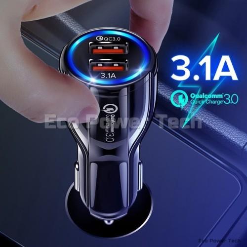 Foto Produk Qualcomm QC3.0 Quick Charger Fast Charging Dual 2 USB 12V-32V QC 3.0 - Hitam dari Eco Power Tech