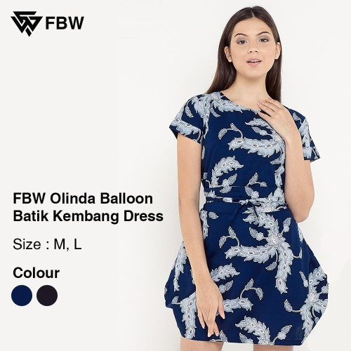 Foto Produk Dress Batik - FBW Olinda Balloon Batik Kembang - Navy - Navy, L dari FBW Official Shop