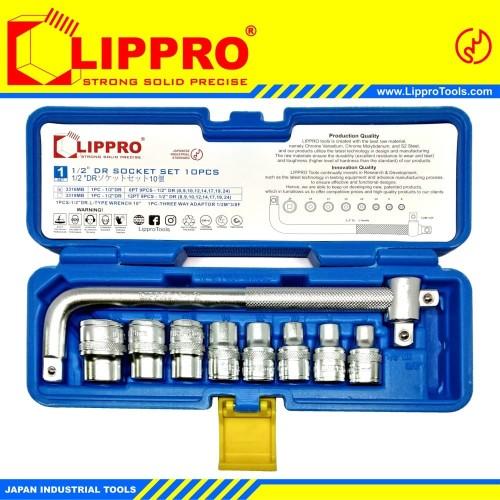 Foto Produk [FS] LIPPRO KUNCI SOK SET 10 PCS BOX PVC 6 PT - KUNCI SOCK SHOCK SET dari Lippro Tools