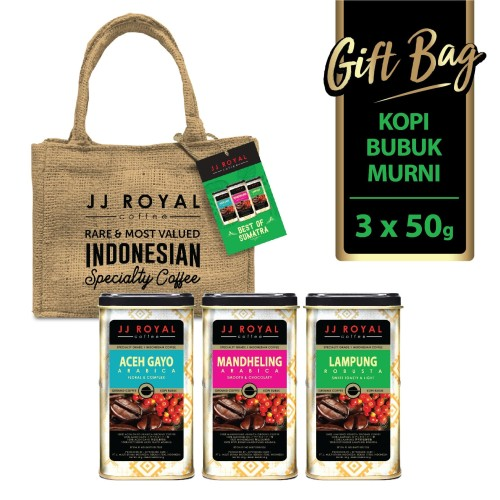 Foto Produk JJ Royal Coffee Gift Bag Sumatra Coffee Ground Tin (Kopi Bubuk) 3x50g dari JJ Royal Coffee