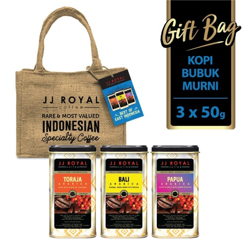 Foto Produk JJ Royal Coffee Gift Bag East Indonesian Ground Tin (Kopi Bubuk) 3x50g dari JJ Royal Coffee