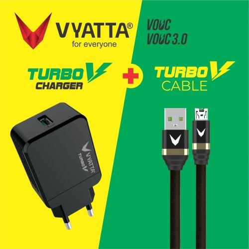 Foto Produk VYATTA BUNDLE TURBO V CHARGER + V CABLE MICRO USB - VOOC 3.0 - Hitam dari VYATTA INDONESIA