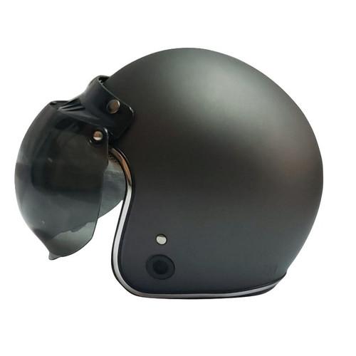 Foto Produk Helm Retro List Chrome HKM Gunmet Doff Silver L dari GudangHelm
