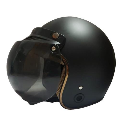 Foto Produk Helm Retro List Chrome HKM Black Doff Gold L dari GudangHelm