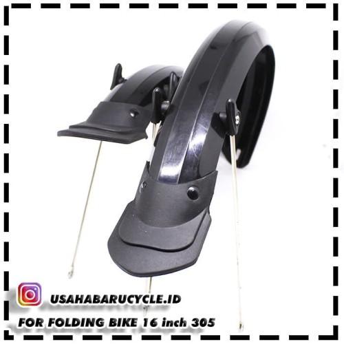 Foto Produk Spakbor Sepeda Lipat 16 inci 305 Black Glossy (Depan - Belakang) dari Usaha Baru Cycle