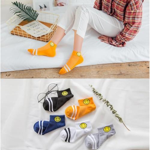 Foto Produk KM01 Kaos Kaki Pendek Wanita Big Smile Women Low Socks - yellow dari EnnWen Online Store