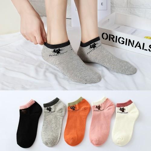 Foto Produk KM03 Kaos Kaki Pendek Wanita Miau Miau Women Low Socks - black dari EnnWen Online Store