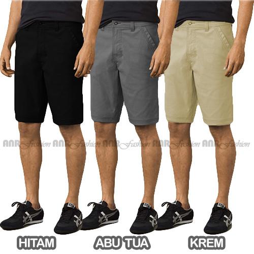 Foto Produk Celana Pendek Chino/Chinos/Cino Pria/Cowok - Abu/Grey/Hitam/Krem/Cream - Hitam, S dari AnR-Shop