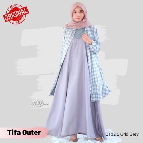 Foto Produk Hijabwanitacantik ORI Tifa Outer BT32.1 Grid Grey ORIGINAL | Atasan dari MITRA TIGA