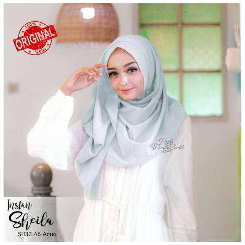Foto Produk Hijabwanitacantik ORI   Pashmina Instan Sheila SH32.46 Aqua ORIGINAL dari MITRA TIGA