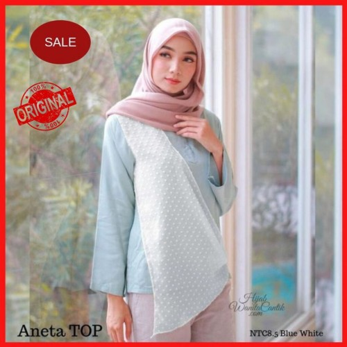 Foto Produk Hijabwanitacantik ORI   DEFECT SALE Aneta Top NCT8.5 Blue White L dari MITRA TIGA