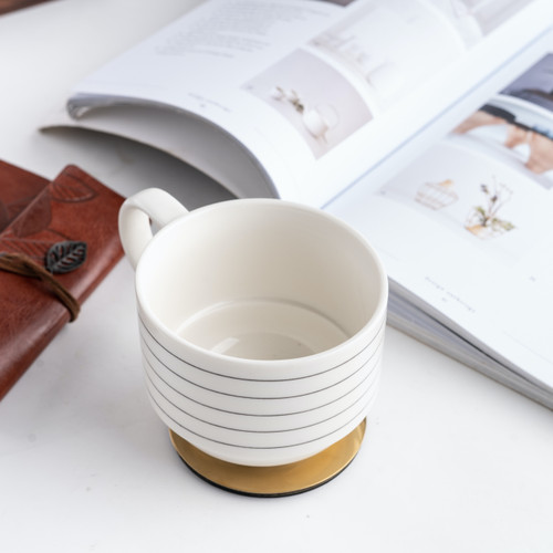 Foto Produk UCHII KIKAMAGU Ceramic Mug Monochrome 14oz Cangkir Keramik Vintage BW - Putih dari uchii store