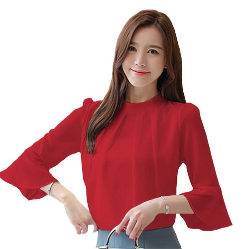 Foto Produk Blus Sifon Gaya Korea tangan 3/4 Variasi tangan - Jfashion Moon - Merah, XL dari j--fashion
