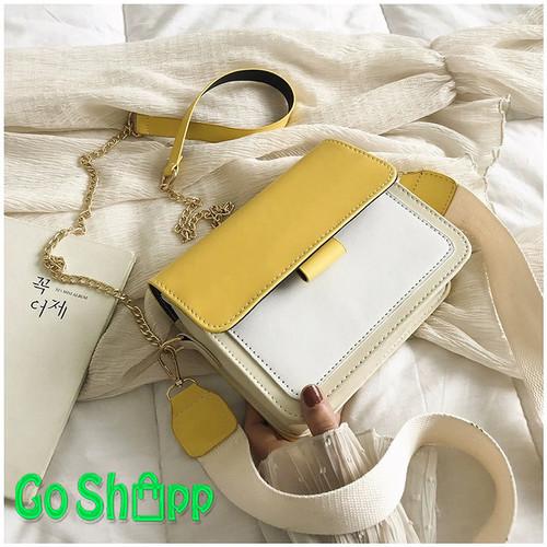 Foto Produk Tas Selempang Wanita Import Kombinasi 3 Warna High Quality - SL19 - SL19 - Kuning dari Go Shopp