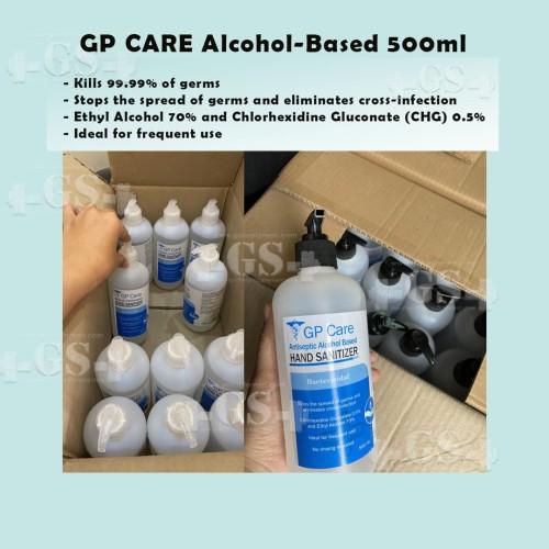 Foto Produk pembersih tangan hand sanitizer GP CARE antiseptic alcohol based 500ml dari Suplemen Fitness Murah