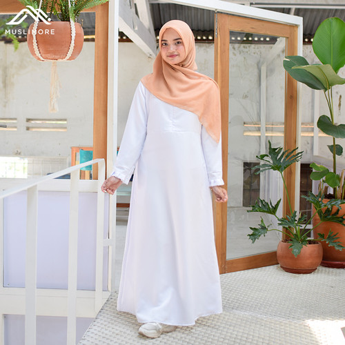 Foto Produk Muslimore Baju Muslim Wanita Gamis Murah Putih Polos Balotelli XNB-03 - Putih, M dari muslimore