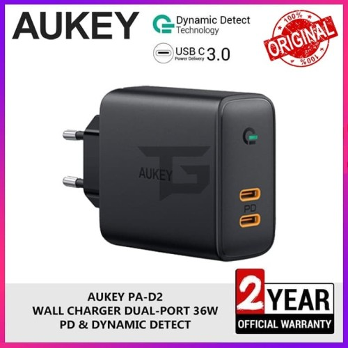 Foto Produk AUKEY PA-D2 36W Travel Charger 2 Port Power Delivery PD Fast Charging dari TopGear Superhero ID