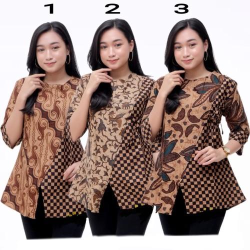 Foto Produk Baju Batik Atasan Wanita/Blouse Batik Kombinasi - S, Daun no.3 dari SANTY-COLLECTION