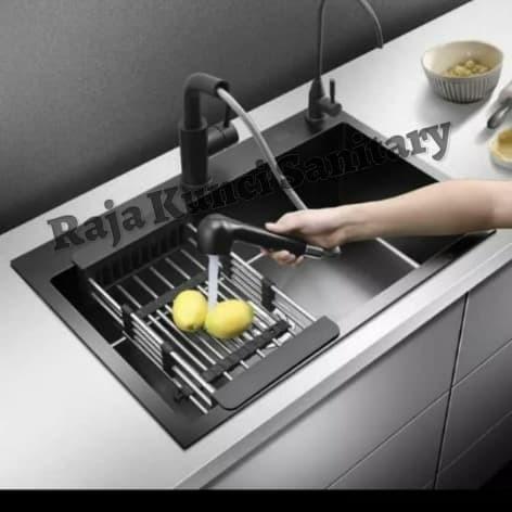 Foto Produk Kitchen Sink BLACK Golden Hand 6045/Bak Cuci Piring Stainless Hitam dari Raja Kunci Sanitary