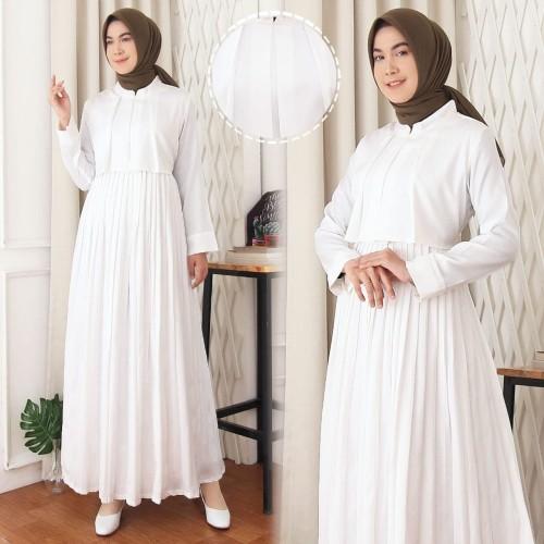 Foto Produk Gamis Hana   Gamis Wanita Terbaru   Gamis Putih  Gamis Rok Plisket dari Glamis