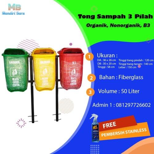 Foto Produk Tong sampah fiber 50 liter 3 in 1 dari Mandiri Fiber