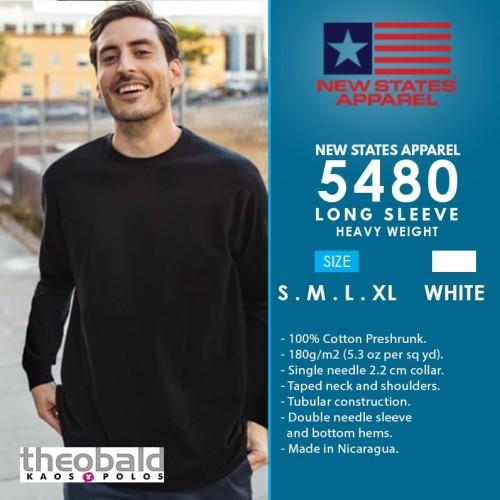 Foto Produk NSA (WHITE) Heavy Weight Long Sleeve 5480 Size S-XL dari Kaos Polos Theobald