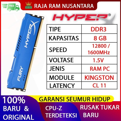 Foto Produk RAM KINGSTON HYPERX FURY GAMING DDR3 8GB 1600MHz 12800 RAM PC DDR3 8GB dari RAJA RAM NUSANTARA