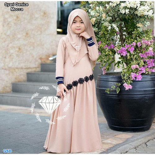 Foto Produk Genice syari kids / Baju Muslim Anak Perempuan / Gamis Anak Terbaru - Mocca dari www.grosirdress.com