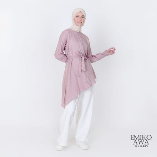 Foto Produk Tunik Baju Atasan Blouse Amelia - Emikoawa Terbaru Premium Free Tali - Dusty Pink dari emikoawa