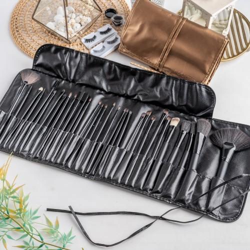 Foto Produk ARAMI Black Make Up Face Brush Portable Leather Pouch | Paket Kuas 33s dari Arami Lifestyle