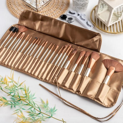 Foto Produk ARAMI Golden Korean Makeup Brush w/ Pouch | Set Dompet Kuas Wajah 24's dari Arami Lifestyle