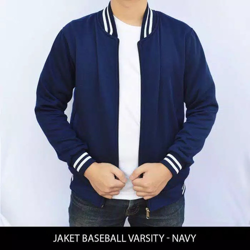 Foto Produk Jaket Baseball Ziper Resleting Polos - Navy, L dari Hoodie Center