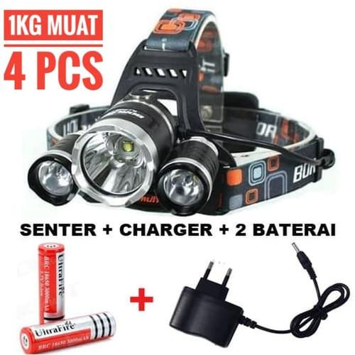 Foto Produk Paket Senter Kepala Headlamp Boruit 3 LED XML-T6 5000 Lumens - CHARGER COLOK dari om-jak